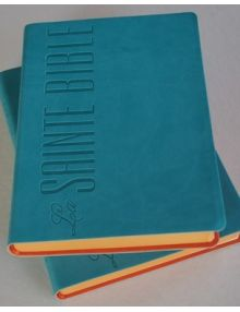 Bible Louis Segond souple similicuir Turquoise. Tranche orange Esa 780