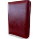Bible NEG miniature fibro cuir tranche or grenat fermeture éclair
