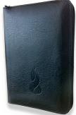 Bible NEG miniature fibro cuir tranche or noir fermeture éclair