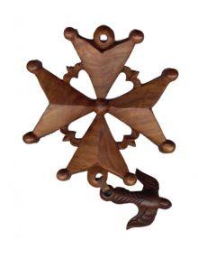 Croix huguenote en bois exotique