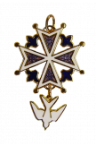 Croix huguenote en émail 3 tons 40 mm