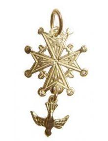 Croix huguenote plaqué or