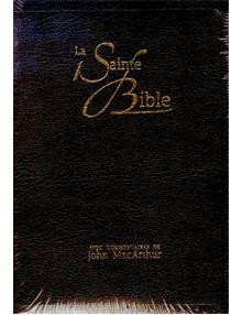 La Sainte Bible (commentaires de John Macarthur) NEG17469 Cuir noir, onglets avec boitier