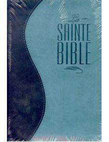 Bible Louis Segond 1910 similicuir duo bleu nuit et bleu turquoise fermeture éclair ESA368
