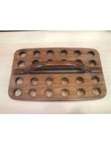 Plateau rectangulaire en bois 24 gobelets (service de sainte cène)