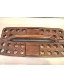Plateau rectangulaire en bois 32 gobelets + pain (service de sainte cène)